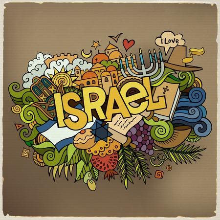 israelite: Israel hand lettering and doodles elements and symbols background Illustration
