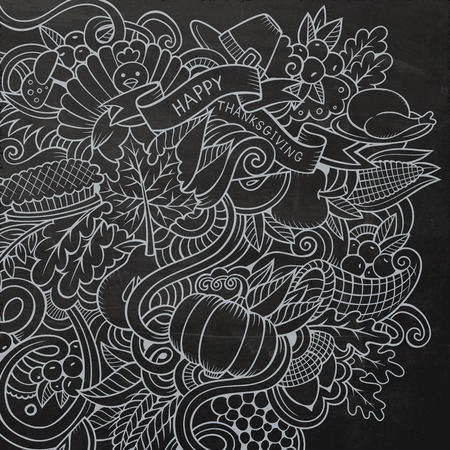 design objects: Cartoon hand-drawn Doodle Thanksgiving. Chalkboard design background with objects and symbols. Illustration