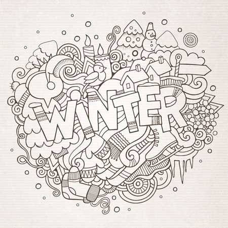 Winter hand lettering and doodles elements background  イラスト・ベクター素材