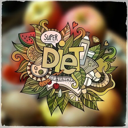 diet food: Diet hand lettering and doodles elements and symbols emblem. Vector blurred background Illustration