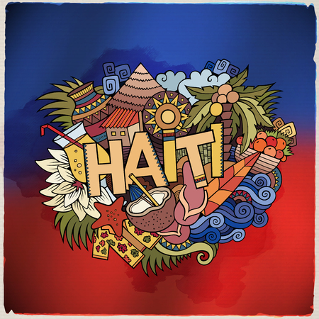 haiti: Haiti hand lettering and doodles elements and symbols emblem. Vector blurred flag background