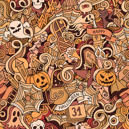 traditional background: Cartoon vector hand-drawn Doodles on the subject of Halloween symbols, food and drinks seamless pattern. Colorful background Illustration