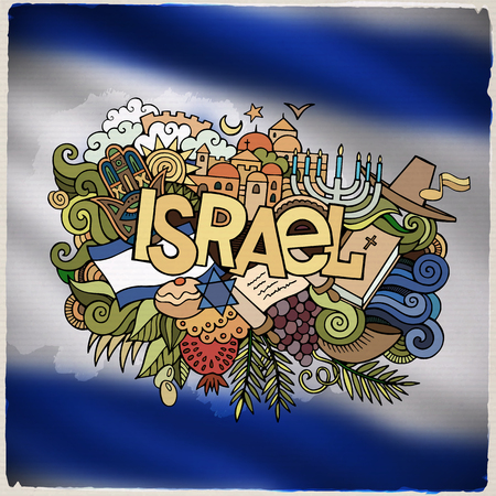 jews: Israel country hand lettering and doodles elements and symbols emblem. Vector blurred background Illustration