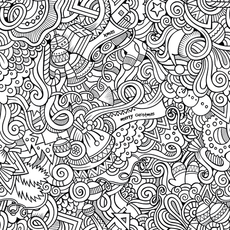christmas seamless pattern: Cartoon vector doodles hand drawn New Year and Christmas seamless pattern Illustration