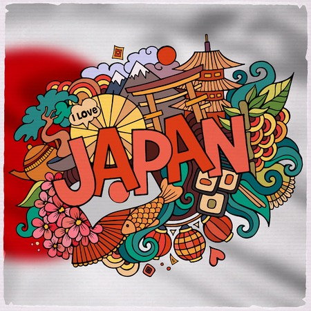 polity: Japan country hand lettering and doodles elements and symbols emblem. Vector blurred background