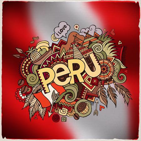 Peru hand belettering en doodles elementen en symbolen embleem. Vector vage vlag achtergrond