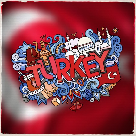 turkish people: Turkey hand lettering and doodles elements and symbols emblem. Vector blurred flag background