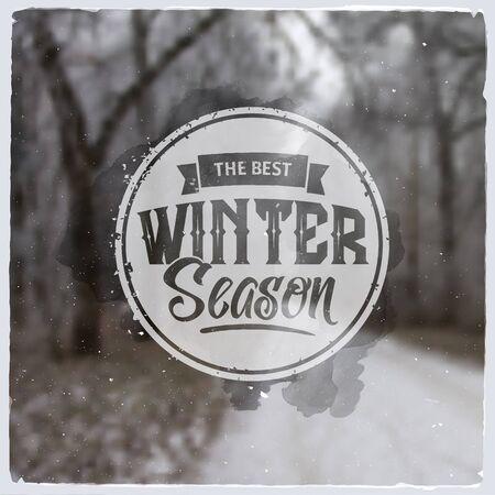 winter snow: Creative graphic logo message for winter design.Vector blurred background
