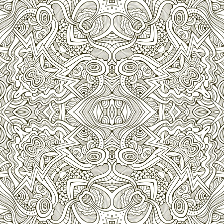 vitrage: Abstract vector decorative nature ethnic hand drawn sketchy contour seamless pattern