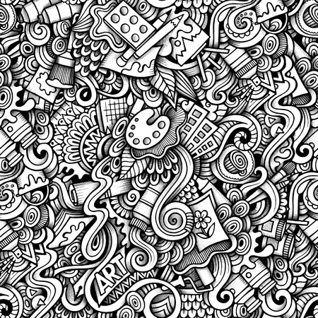 drawing paper: Cartoon hand-drawn doodles on the subject of Art style theme seamless pattern. Contour trace vector background Illustration