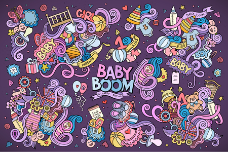Colorful vector hand drawn doodle cartoon set of objects and symbols on the baby theme