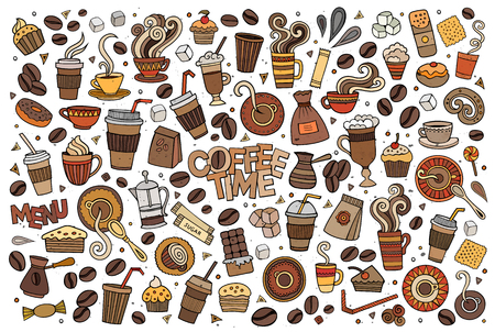 turkish dessert: Colorful vector hand drawn Doodle cartoon set of objects and symbols on the coffee time theme