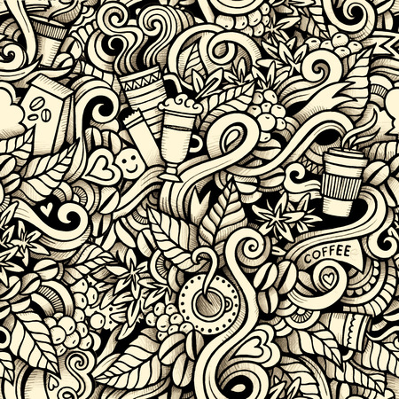 Cartoon hand-drawn doodles on the subject of Coffee style theme seamless pattern. Contour trace vector background