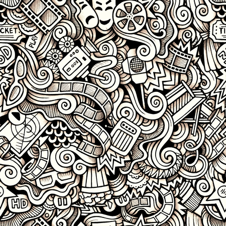 Cartoon hand-drawn doodles on the subject of Cinema style theme seamless pattern. Contour trace vector background Illustration
