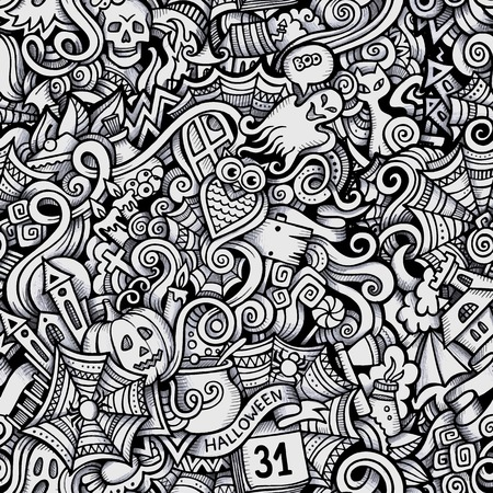 Cartoon vector hand-drawn Doodles on the subject of Halloween symbols, food and drinks seamless pattern. Trace background