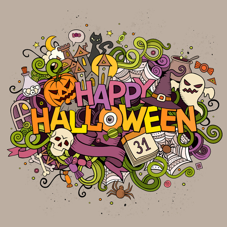 Cartoon vector hand drawn Doodle Happy Halloween illustration. Colorful design background with objects and symbols. Ilustração