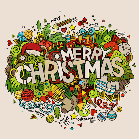 Merry Christmas hand lettering and doodles elements background. Vector colorful illustration