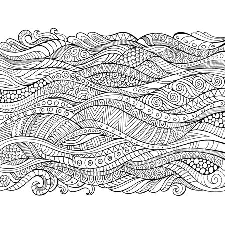 ベクトル手描き概要抽象的な装飾的なエスニック ストライプ背景