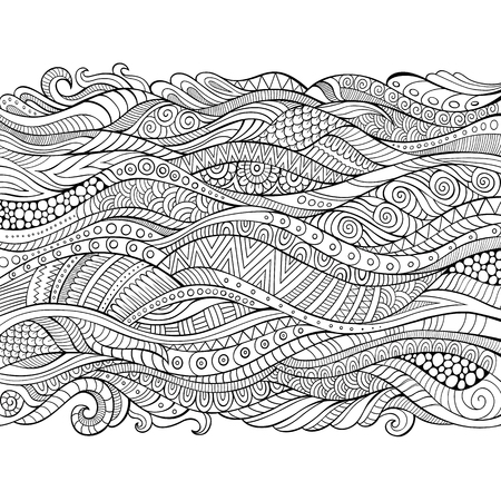line art: Vector hand drawn outline abstract ornamental ethnic stripe background