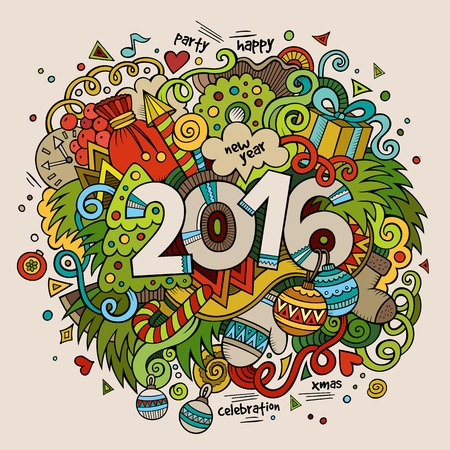 new year of trees: 2016 New year hand lettering and doodles elements background. Vector colorful illustration