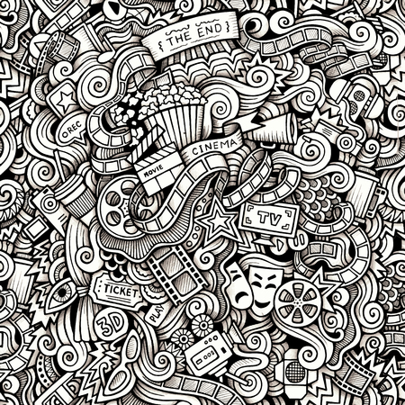 camera: Cartoon hand-drawn doodles on the subject of Cinema style theme seamless pattern. Contour trace vector background Illustration
