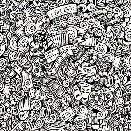 Garabatos de dibujos animados dibujados a mano, sobre el tema de tema de estilo de cine sin patrón. Trazar contorno de vectores de fondo Foto de archivo - 46402779