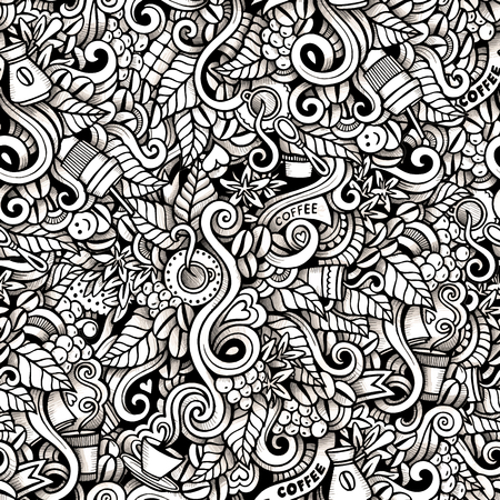 hot coffee: Cartoon hand-drawn doodles on the subject of Coffee style theme seamless pattern. Contour trace vector background