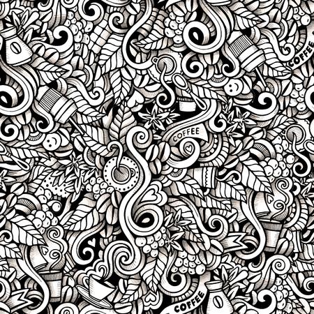 capuchinos: garabatos dibujados a mano de dibujos animados sobre el tema de estilo transparente patrón Tema del café. traza el contorno de vectores de fondo Vectores