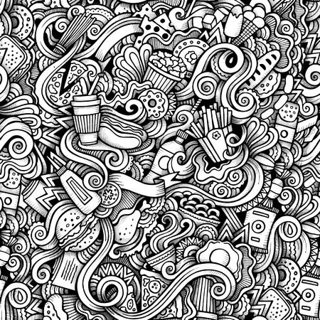 huevo caricatura: garabatos dibujados a mano de dibujos animados sobre el tema de patrón transparente tema de estilo de comida rápida. traza el contorno de vectores de fondo