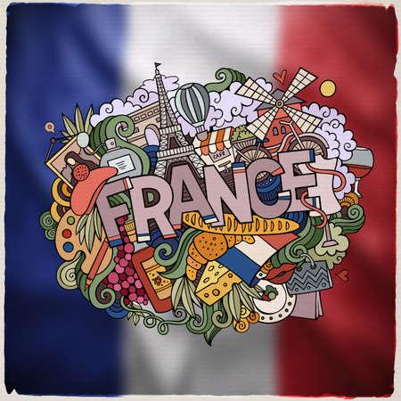 Francia letras de la mano y doodles elementos y símbolos emblema. Vector bandera de fondo borroso
