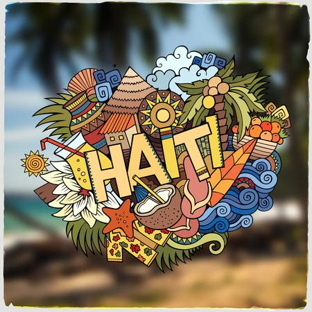 arboles de caricatura: Haití letras de la mano y doodles elementos y símbolos emblema. Vector fondo borroso