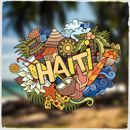 cartoon trees: Haiti hand lettering and doodles elements and symbols emblem. Vector blurred background