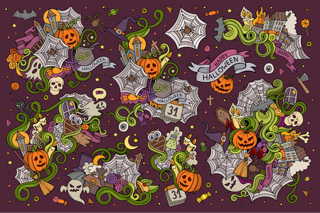 cartoon spider: Colorful vector hand drawn Doodle cartoon set of objects and symbols on the Halloween theme