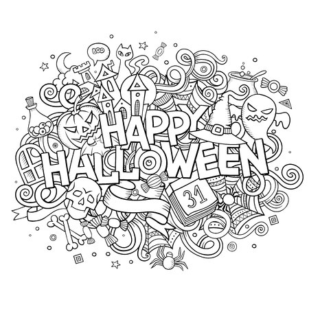 Cartoon vector hand drawn Doodle Happy Halloween illustration. Sketchy design background with objects and symbols.