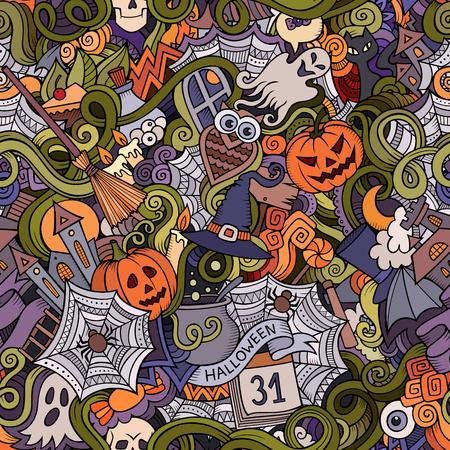Beeldverhaal vector hand-drawn Krabbels voor wat betreft Halloween-symbolen, voedsel en dranken naadloos patroon. Kleurrijke achtergrond Stock Illustratie