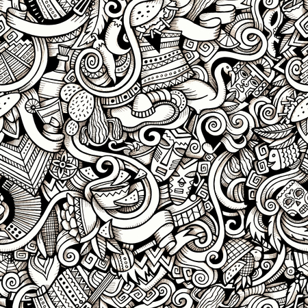 手描き漫画は、ラテン アメリカのスタイル テーマのシームレスなパターンをテーマにいたずら書き。輪郭線トレースのベクトルの背景  イラスト・ベクター素材