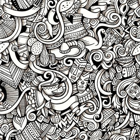 Cartoon handgezeichneten Kritzeleien auf dem Thema der lateinamerikanischen Stil Thema nahtlose Muster. Konturverfolgung Vektor Hintergrund Standard-Bild - 46402896