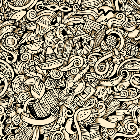 Cartoon hand-drawn Doodles on the subject of Latin American style theme seamless pattern. Contour trace vector background Иллюстрация