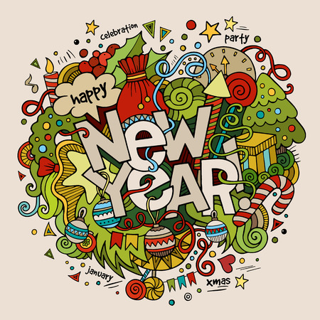 fonts year: New year hand lettering and doodles elements background. Vector illustration