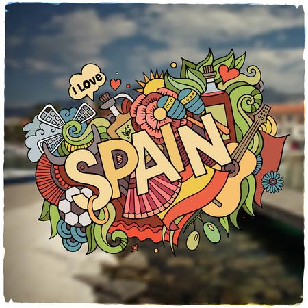 Spain hand lettering and doodles elements and symbols emblem. Vector blurred background