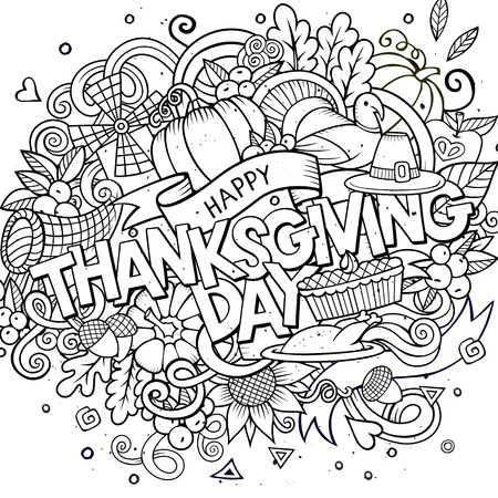 acorn: Cartoon vector hand drawn Doodle Thanksgiving illustration. Sketchy design background with objects and symbols.