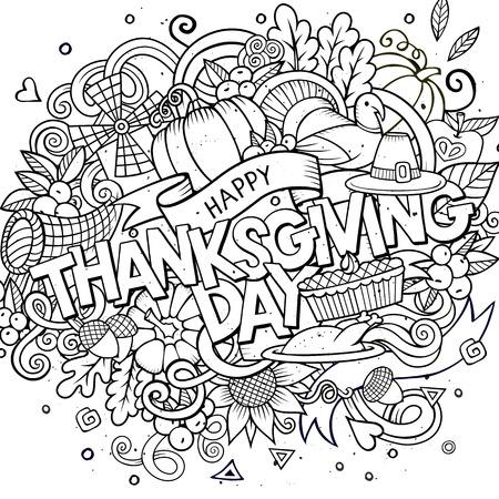 accion de gracias: Vector de la historieta dibujado a mano ilustraci�n Doodle de Acci�n de Gracias. Fondo de dise�o incompleto con los objetos y s�mbolos.