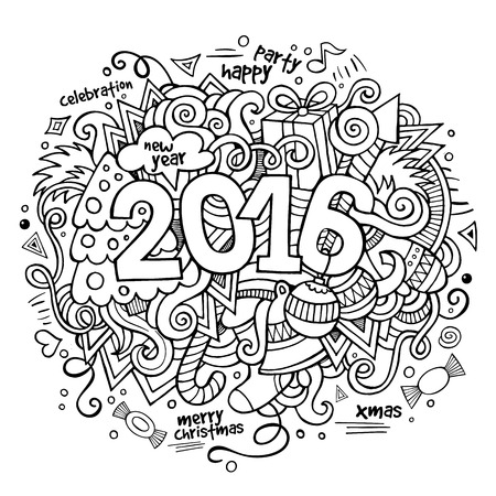 sketchy illustration: 2016 New year hand lettering and doodles elements background. Vector sketchy  illustration Illustration