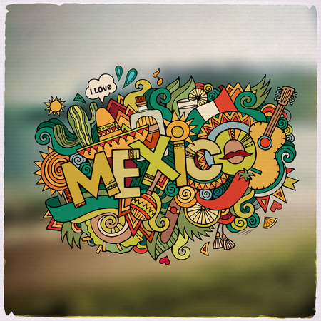 mexico beach: Mexico hand lettering and doodles elements and symbols emblem. Vector blurred background Illustration