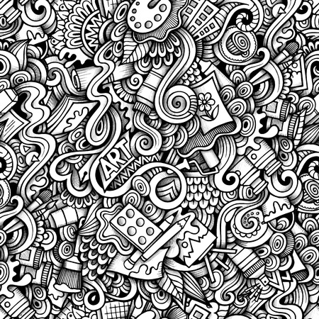 Cartoon hand-drawn doodles on the subject of Art style theme seamless pattern. Contour trace vector background Vettoriali
