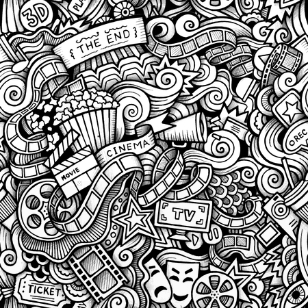 filmstrip: Cartoon hand-drawn doodles on the subject of Cinema style theme seamless pattern. Contour trace vector background Illustration
