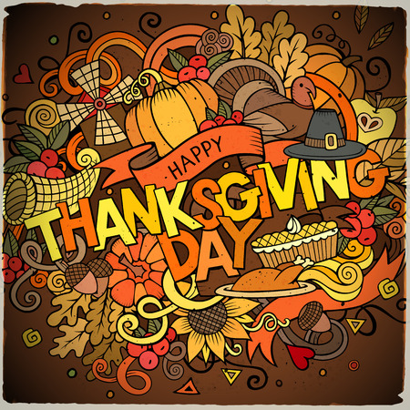 thanksgiving art: Cartoon vector hand drawn Doodle Thanksgiving illustration. Colorful design background with objects and symbols.