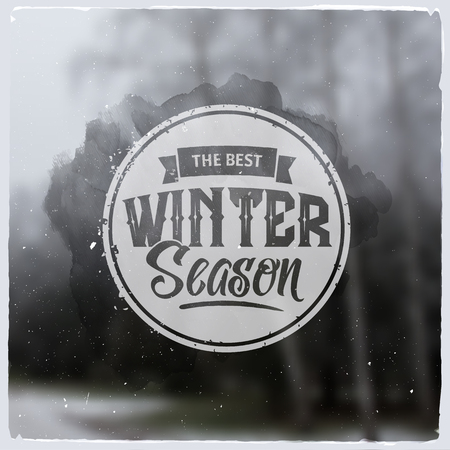 winter tree: Creative graphic logo message for winter design.Vector blurred background