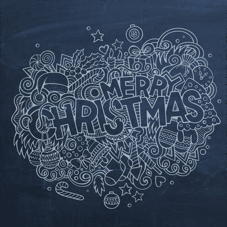 art abstract background: Merry Christmas hand lettering and doodles elements background. Vector chalkboard illustration