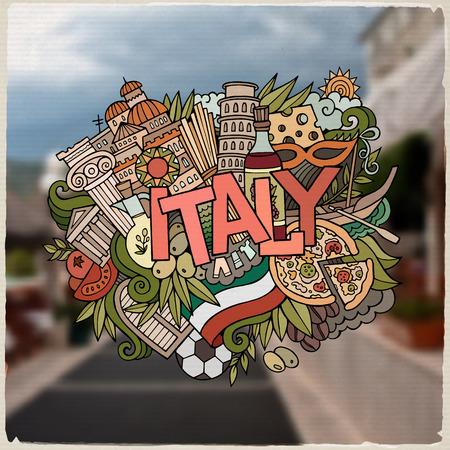 logotipo turismo: Italia letras de la mano país y doodles elementos y símbolos de fondo. Vector fondo borroso